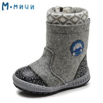 (Отправить от России) Mmnun шерсть валенки зимняя обувь Обувь для мальчиков теплая детская зимняя обувь маленьких Зимние сапоги для мальчиков ...