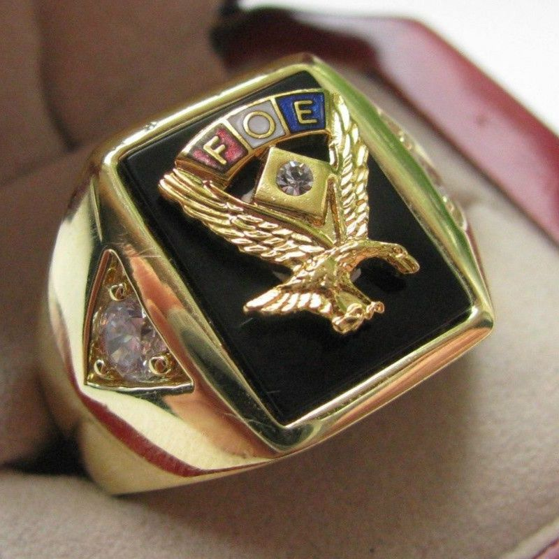 Hot Selling Natural Onyx 18kt Gold Filled Superb NEW! Gents Fraternal Order of Eagles CREST Ring