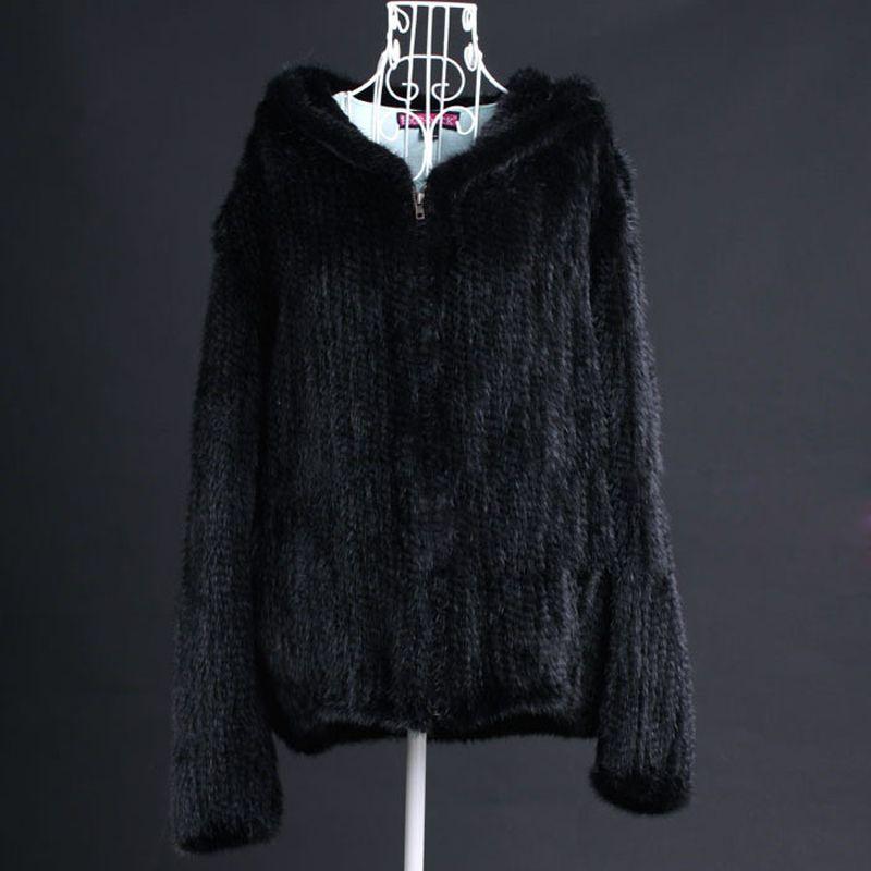 Winter Damen Echte echte Gestrickte Nerz Jacke Mantel mit Hoody Frauen Fell Oberbekleidung Mäntel Größe 5XL 6XL Plus Größe VK3016