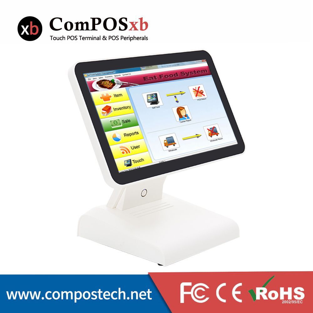 Capacitive Flat Touch POS System LCD Monitor J1900 4GB 64GB With VFD Customer Display 15 Inch