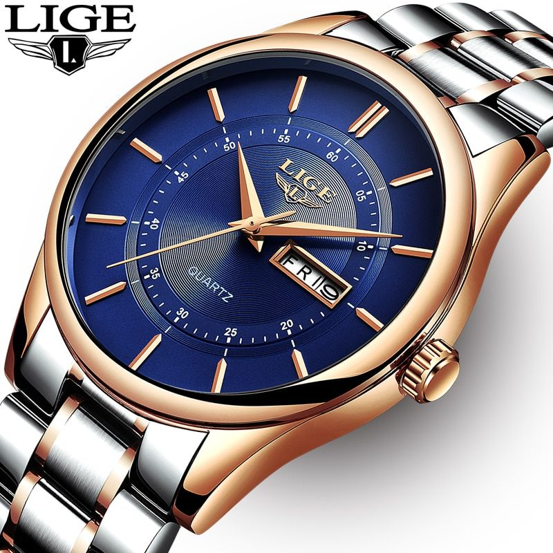 LIGE Men Watch 30m Waterproof Mens Watches Top Brand Luxury Steel Watch Chronograph Male Clock Casual sport relojes hombre