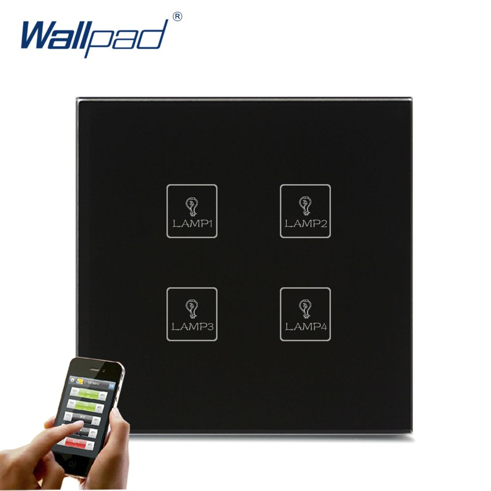 Sans fil Android/IOS WIFI 4 Gang Swith Wallpad noir cristal verre interrupteur LED WIFI 4 Gang télécommande LED tactile interrupteur