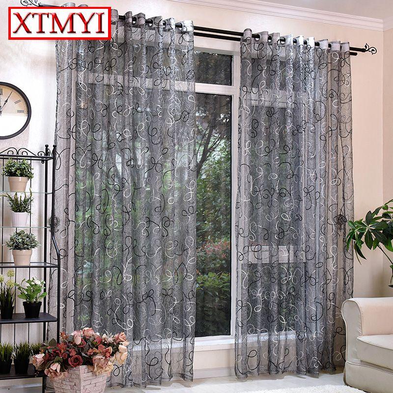 Style européen gris brodé tulle rideaux pour salon translucide chambre cuisine Rideaux Dentelle fenêtre stores