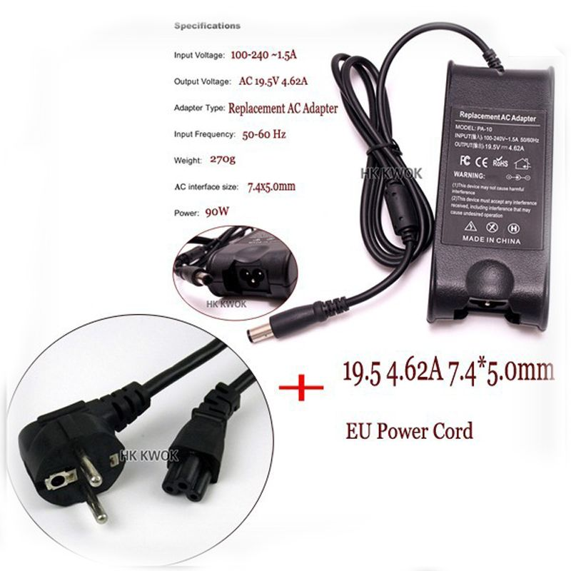 Power Adapter For DELL Laptop 19.5V 4.62A + EU Plug For Dell inspiron PA-10 1545 N4010 N4030 N4050 D610 D620 D630 Pa-1900-02D