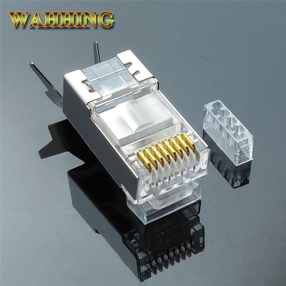 50/100 stücke Rj45-stecker Cat6 Cat7 RJ45 stecker geschirmt FTP-VERBINDUNGSKABEL 8P8C Netzwerk Crimpsteckverbinder HY1530
