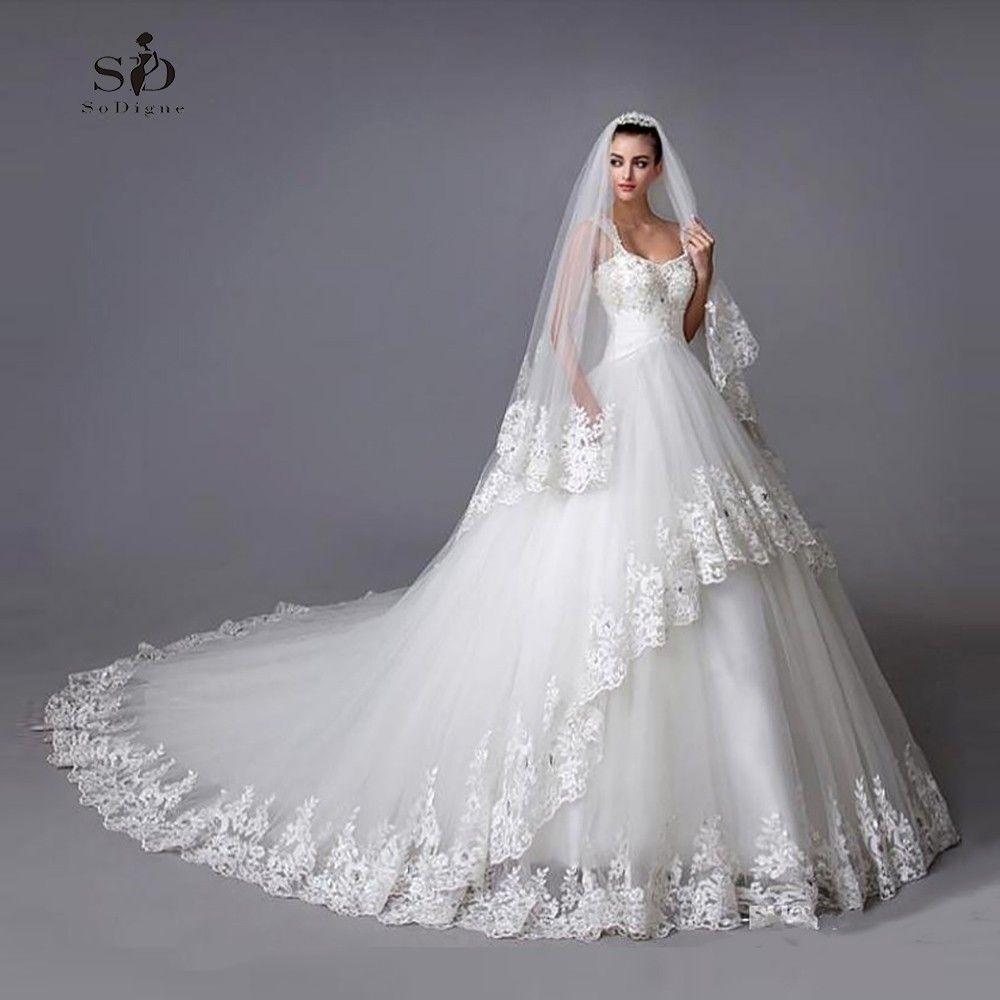 Robe de mariée Tulle Robe De Mariage Faite sur commande De Mariée Vente Chaude Redevance Perlé Cap Manches Dentelle Applique Robe De Mariée
