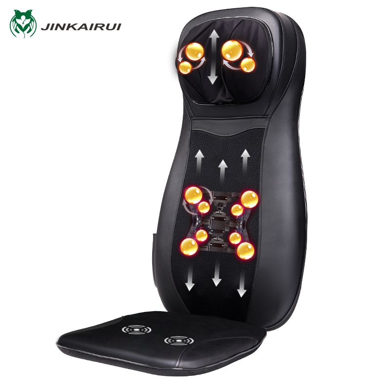 JinKaiRui Infrared Heating Vibrate Neck Back Massage Chair Car Home Office Massager Kneading & Shiatsu Cushion Seat Relaxation