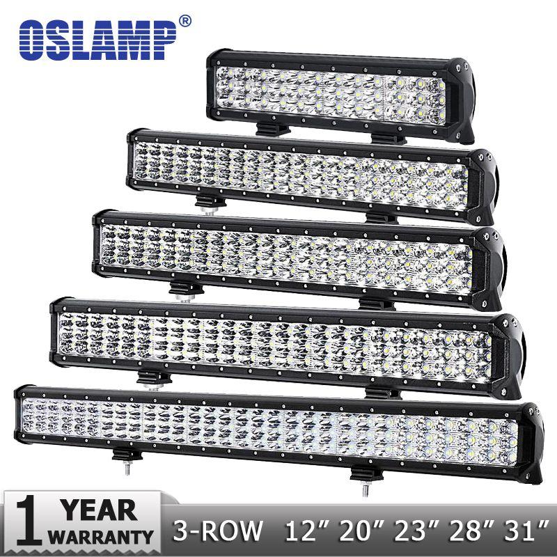 Oslamp 4 7 12 20 23 28 31 3-Row LED Light Bar Offroad Combo Beam Led Work Light Bar 12v 24v Truck SUV ATV 4WD 4x4 Led Bar