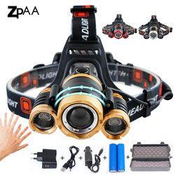 ZPAA светодиодный налобный фонарь масштабируемой 15000Lm T6 Глава фонарик датчик фонаря заряжаемый прожектор налобный фонарь головы Рыбалка