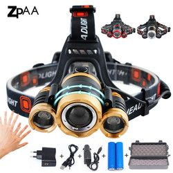 ZPAA светодиодный налобный фонарь с приближением, 15000Lm T6 Головной фонарь датчик фонаря заряжаемый прожектор налобный фонарь головы Рыбалка