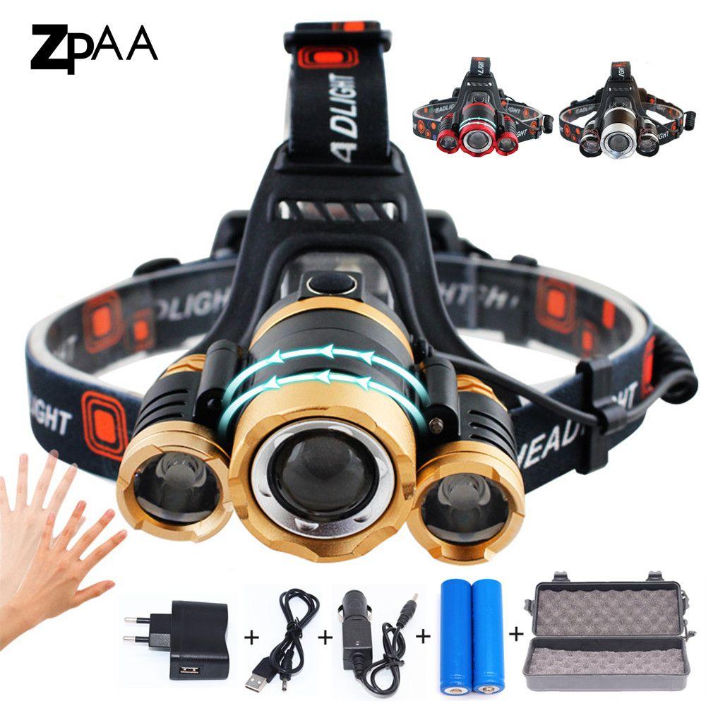 ZPAA LED phare Zoomable 15000Lm T6 tête lampe de poche torche capteur Rechargeable phare avant lampe phare de pêche