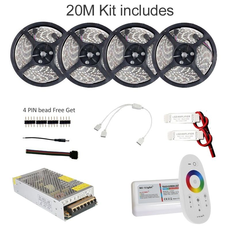 5M 10M 15M 20M Led Strip RGB Waterproof 5050 SMD 60 leds/m Tape DC 12V + RF Remote Dimmable Controller + Power Adapter 1Set
