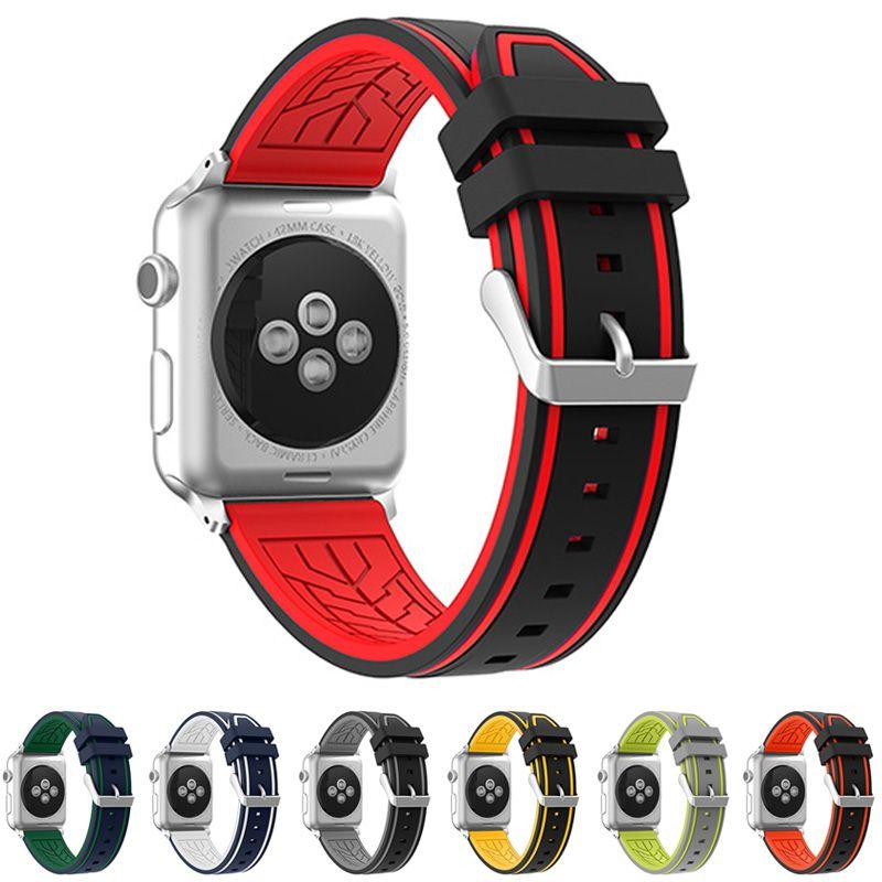 Neway 2017 bracelet en caoutchouc bracelet de montre pour Apple montre Iwatch bande 38mm 42mm série 1 & 2 Silicone Sport bracelet de remplacement ceinture