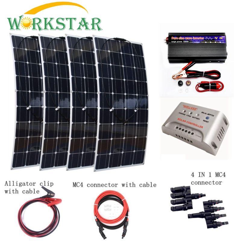 4 stücke 100 Watt Flexible Solarpanel-modul mit 1000 Watt wechselrichter und 30A controller Houseuse Komplette 400 Watt Solar System Fabrik Preis