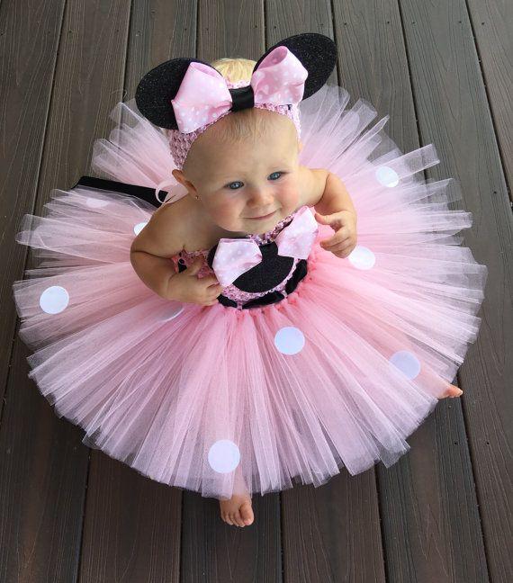 Jolies filles rose dessin animé Tutu robe bébé Mickey Minnie Crochet Tulle Tutus avec des points arc et bandeau enfants robe de fête d'anniversaire