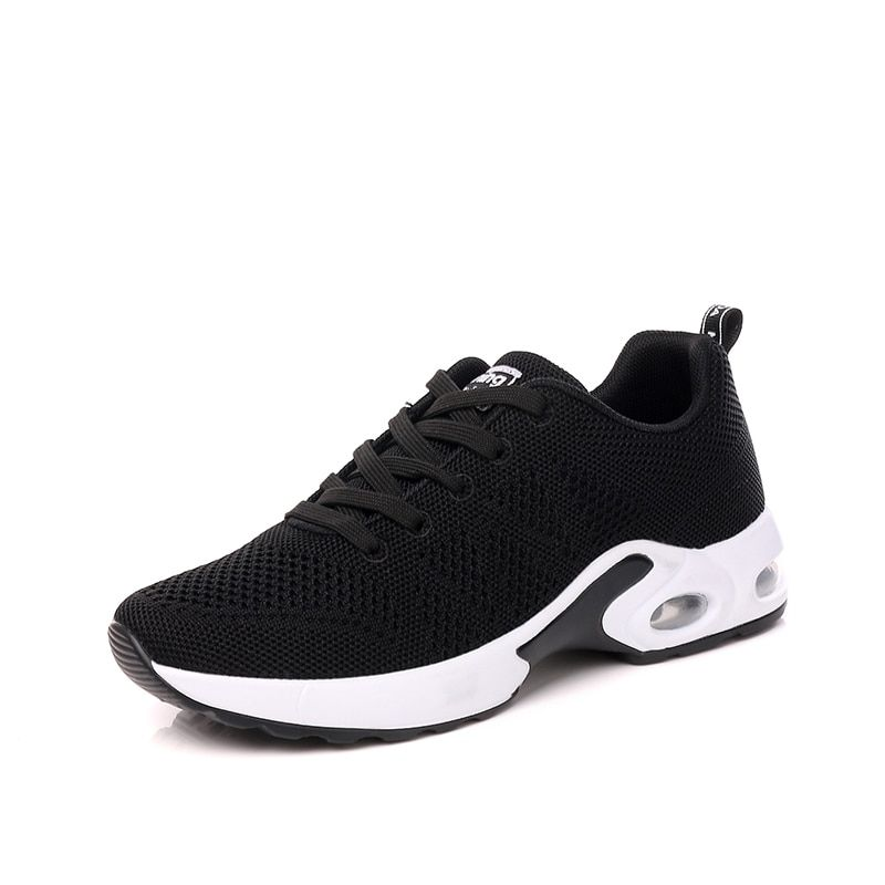 2018 Black Woman Running Shoes Air Cushion Women Sports Shoes Hollow Vamp Autumn Sneakers Female Black Gray Shockproof Shoe 7