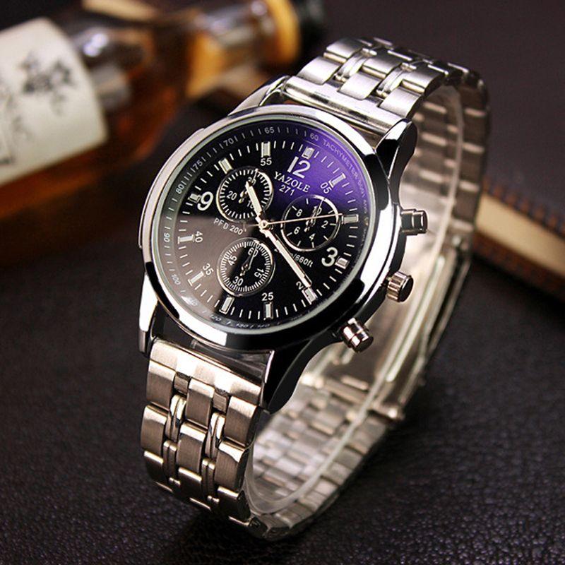 Yazole completo acero blanco Negro Azul Ray dial 30 m impermeable manos luminosas negocios vestido reloj deportivo relojes para hombres hombres