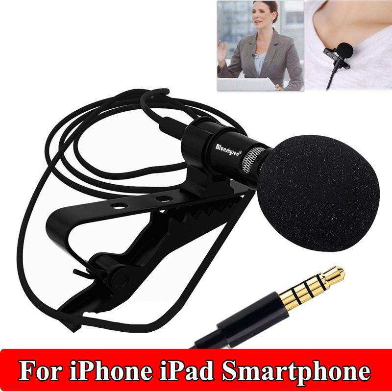 Livraison gratuite! Clip-sur Revers Mini Micro Cravate Microphone Pour IOS SmartPhones D'enregistrement PC