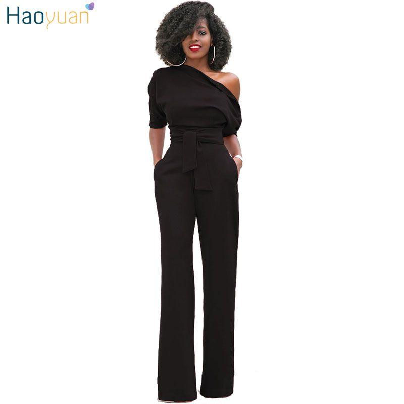Haoyuan одно плечо Комбинезоны для женщин Мода 2017 г. осень синий/желтый/черный Комбинезоны для девочек элегантные широкие брючины Комбинезоны ...