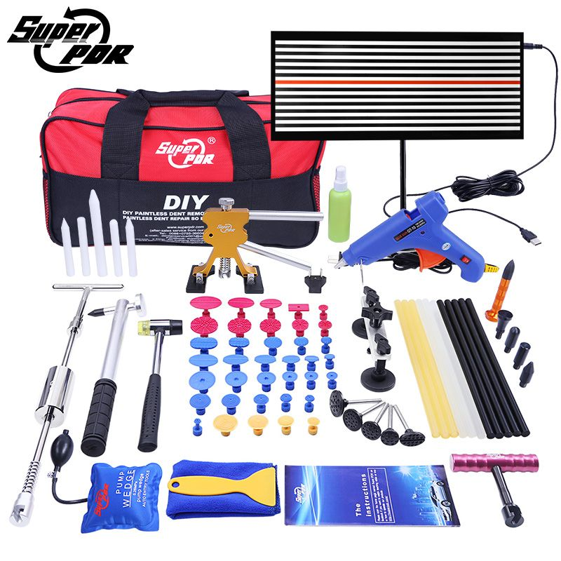 Super PDR Paintless Dent Repair Tools Pump Wedge LED Lamp Reflector Board slide hammer Hand Tool Kit PDR Dent Removal Tools