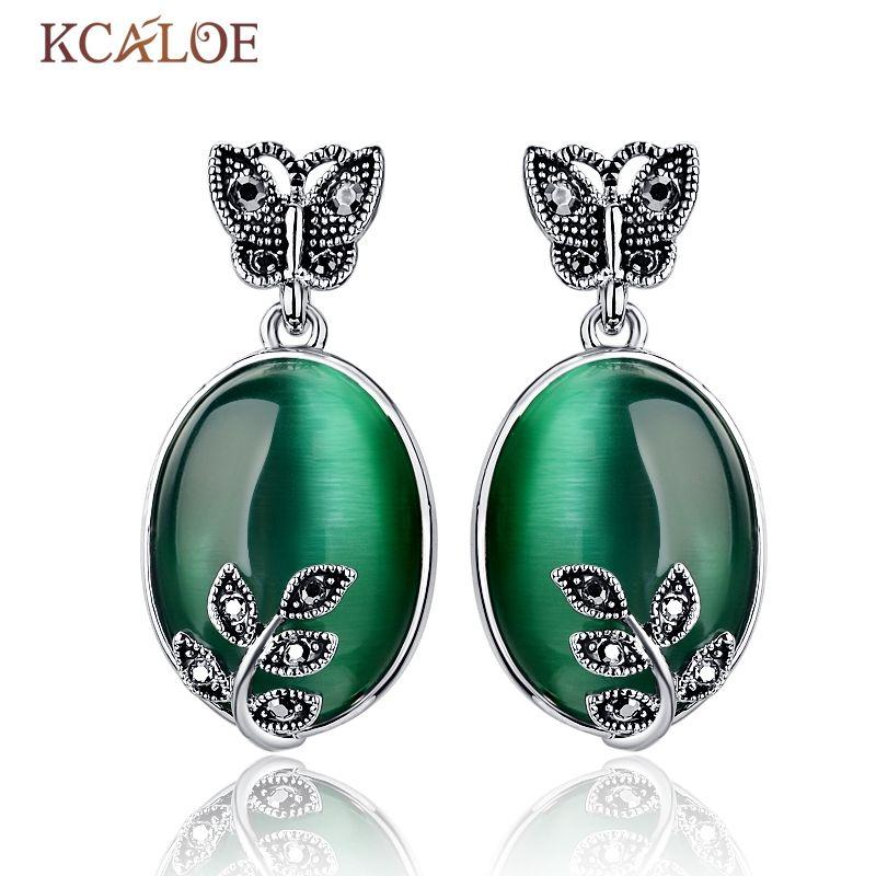 KCALOE grandes boucles d'oreilles opale verte pierre naturelle Vintage rétro noir strass Zircon papillon feuille Piedras Verdes boucles d'oreilles