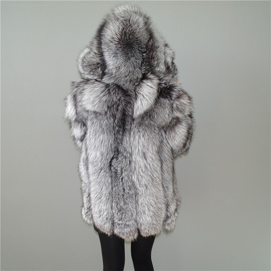 Custom Real Silver Fox Fur Vertical stripes patchwork leather stripe hooded coat outwear long jacket winter parka Winter Trench