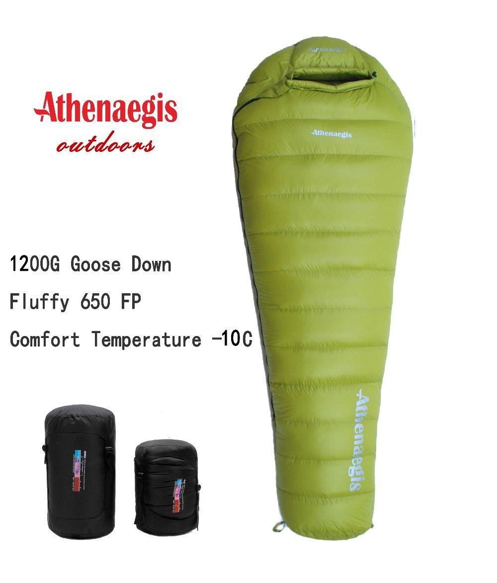 Athenaegis ultraleicht komfortable wasserdichte 1200g weiße gänsedaunen füllung kann gespleißt winter schlafsack