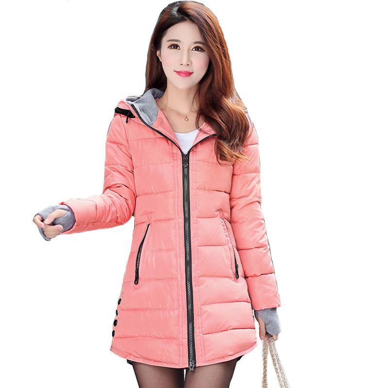 2018 women winter <font><b>hooded</b></font> warm coat plus size candy color cotton padded jacket female long parka womens wadded jaqueta feminina