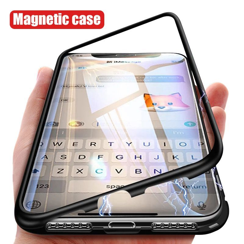 Magnetic Metal Case For iPhone 7 8 6 6S Plus Hybrid Aluminum Bumper Clear Tempered Glass Back Cover For iPhone XS Max XR XS X