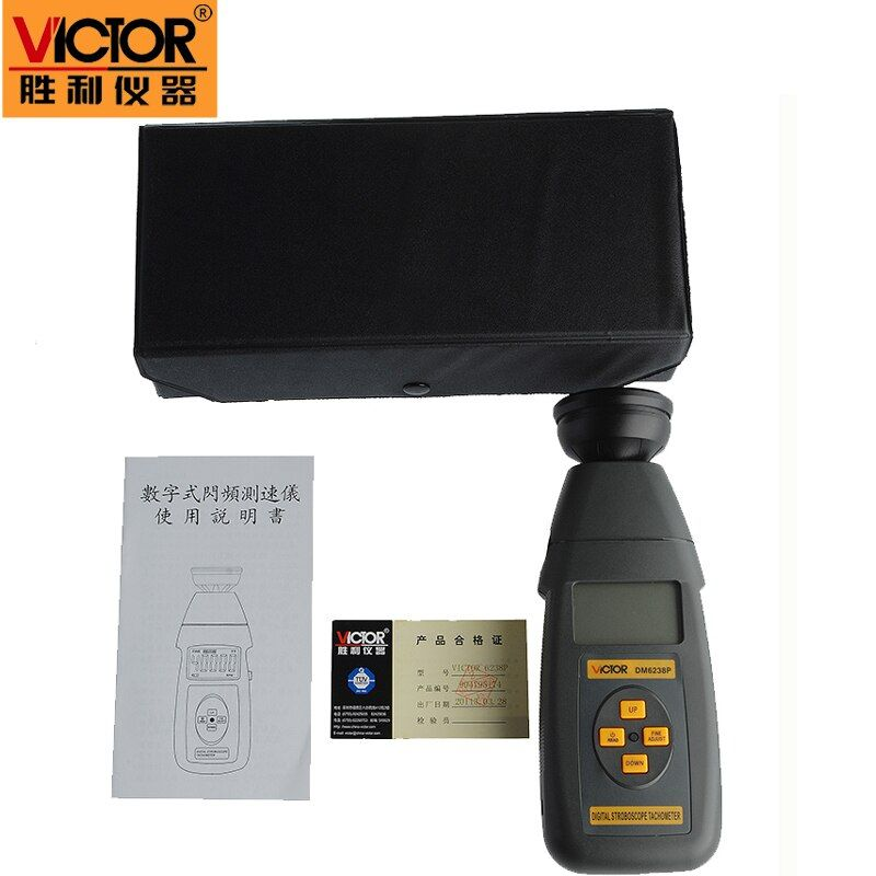 Victor new digital non-contact stroboscope DM6238P flash frequency gun 60 ~ 39,999 rpm per minute tachometer