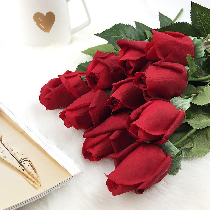 10 pièces/ensemble vraie touche Rose bourgeons fleurs fleurs artificielles mariage Roses fleurs mariage mariée bouquets maison décorative fleurs