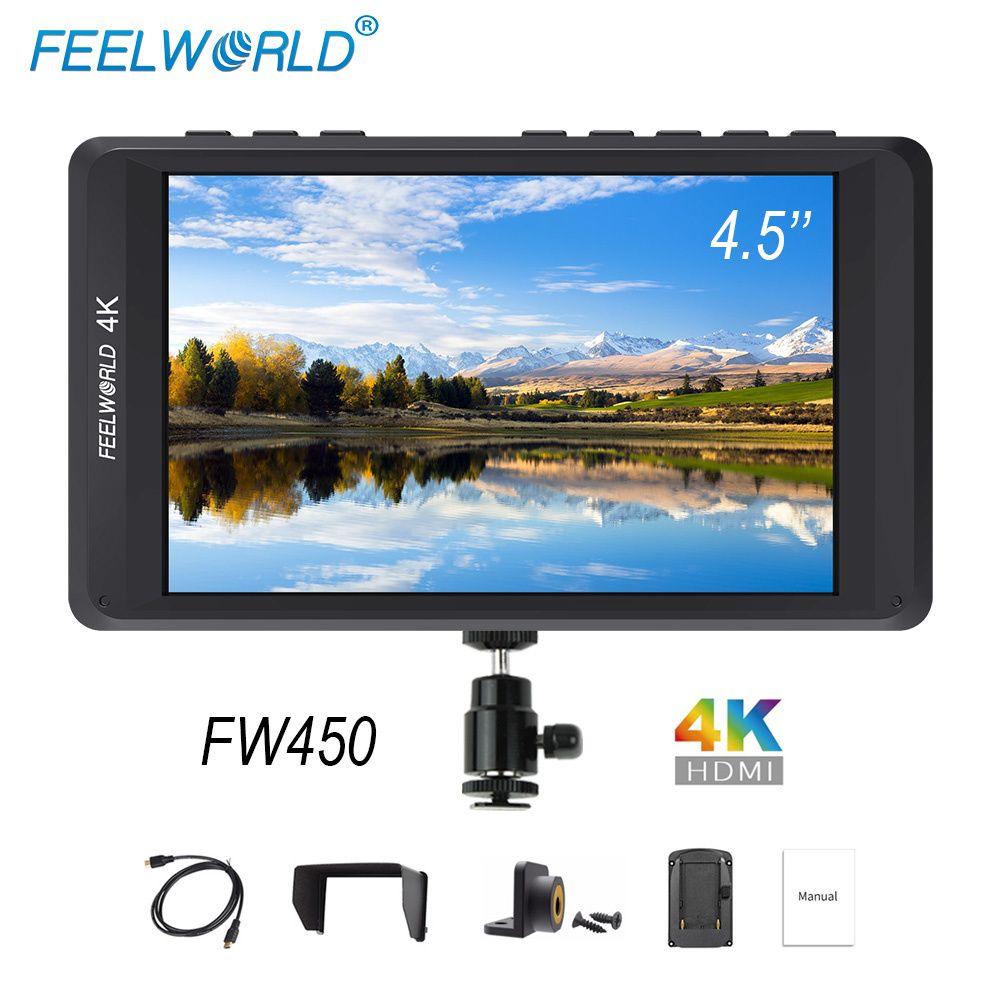 Feelworld FW450 4,5 zoll DSLR Kamera Feld Monitor IPS Kleine HD 1280x800 4 karat HDMI Eingang Ausgang Licht gewicht Tragbare LCD Monitore