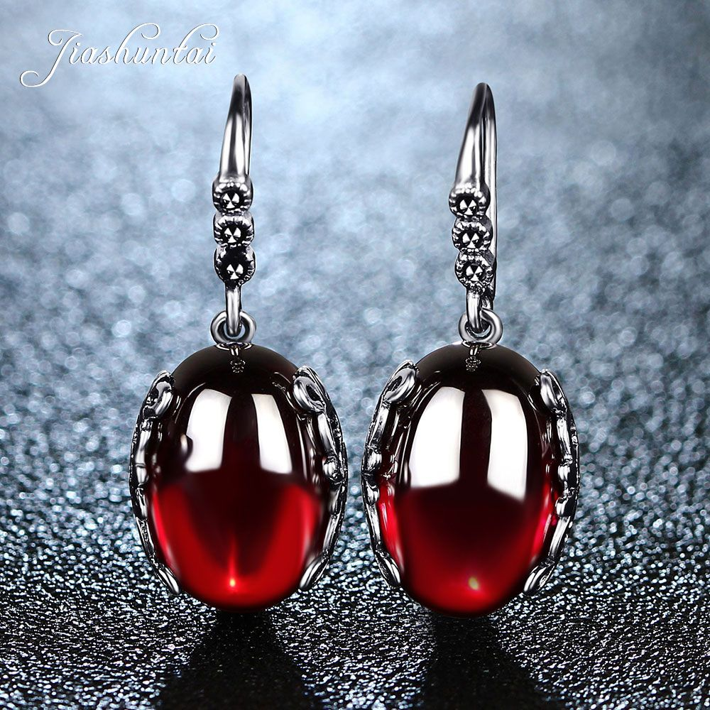 JIASHUNTAI Retro Silver Earrings for Women Vintage Red Yellow Precious <font><b>Stones</b></font> with 925 Sterling Silver indian Jewelry pendientes