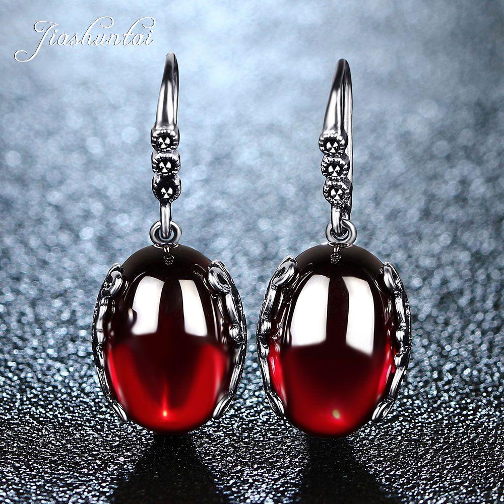 JIASHUNTAI boucles d'oreilles rétro en argent pour femmes Vintage rouge jaune pierres précieuses avec 925 bijoux en argent Sterling indien pendientes
