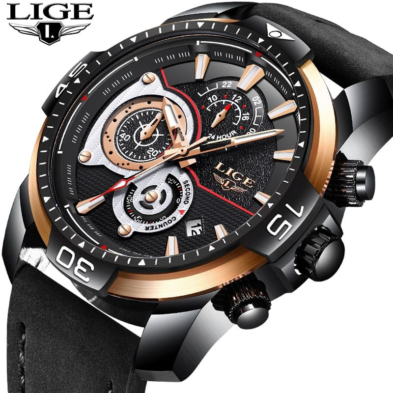 New LIGE Mens Watches Top Brand Luxury Business Waterproof Quartz Watch Mens Black Casual Leather Sport Watch Relogio masculino