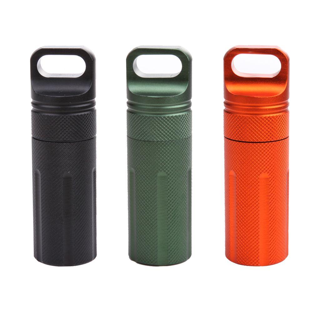 Водонепроницаемый капсула печать бутылки алюминиевый сплав Открытый EDC выживания Pill Box Контейнер скорой помощи таблетки случае 3 цвета