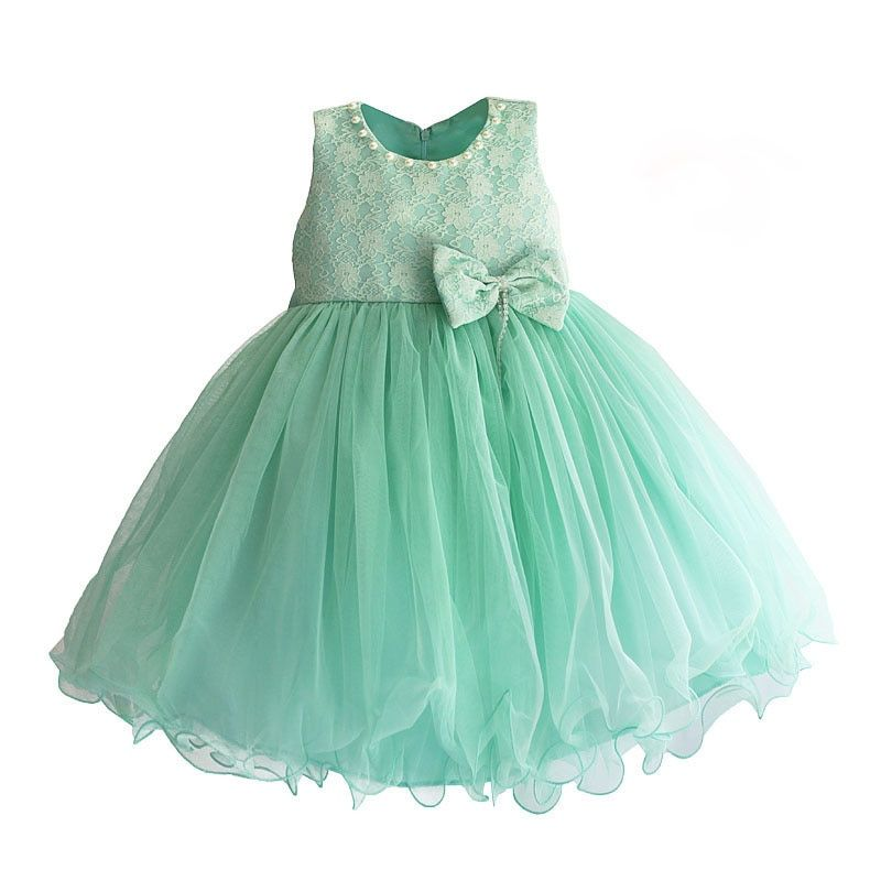 Tiffany Blue Girls Party Dress Pearl Collar Lace Flower Wedding Princess Dress Girls Clothes roupas infantis menina 3-8T