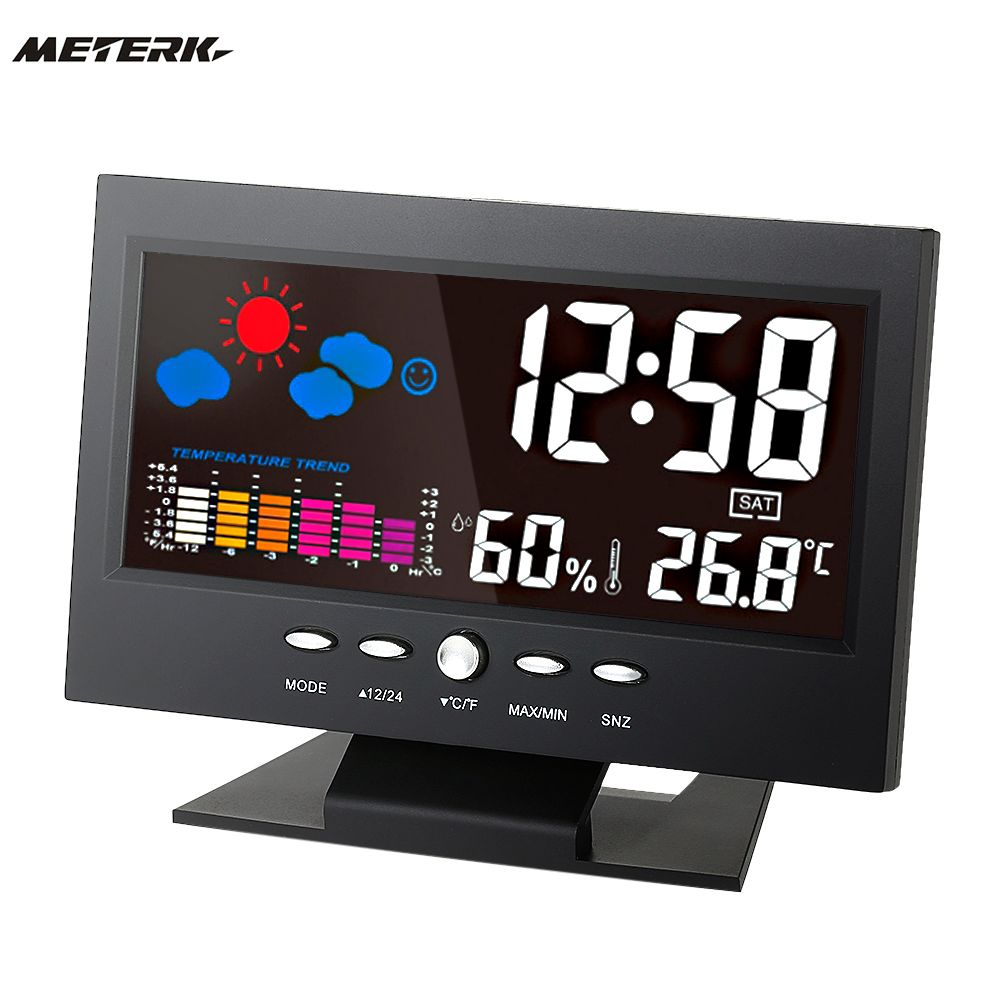 Digital Temperature Humidity Meter Clock Thermometer Hygrometer Calendar Temperature Trend Alarm Comfort Level Weather Station
