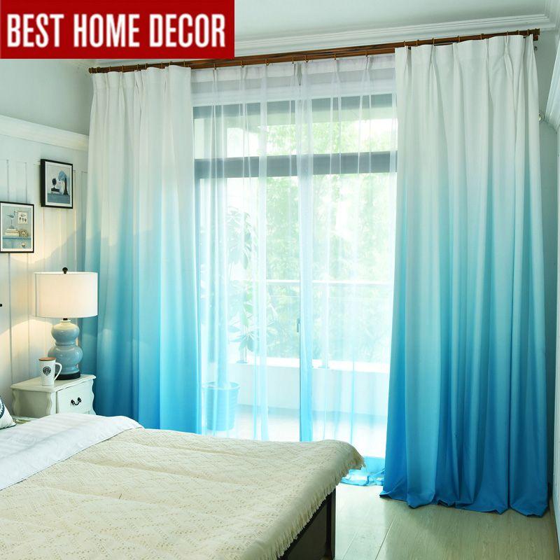 Dégradé couleur rideaux de fenêtre pour salon chambre cuisine tulle rideaux et rideaux occultants pour fenêtre ombrage taux 75%