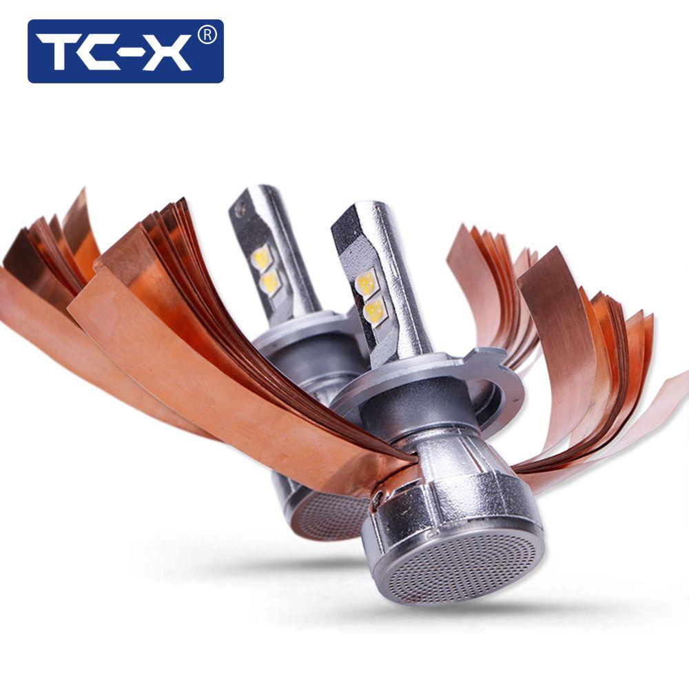 TC-X Super Bright 4300K XHP50 Chips LED Car Headlight Kit H4 Hi/Lo H7 CANBUS H11 9005 9006 60W 7000LM/Set Auto Headlamp Bulbs