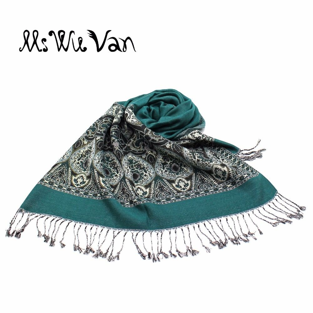 Paisley Tippet From India Winter Scarf Turquoise Scarves Cotton Pashmina For Women Echarpe Oversize Ethnic Fashion Shawls Wraps