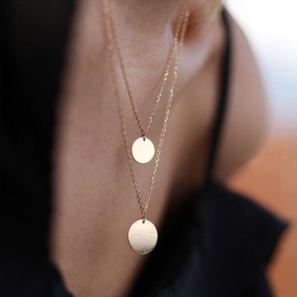 Collier de pièces à la main disque tour de cou personnalisé 14 or rempli 16mm pendentifs meilleur ami Collier Femme Kolye Collares bijoux