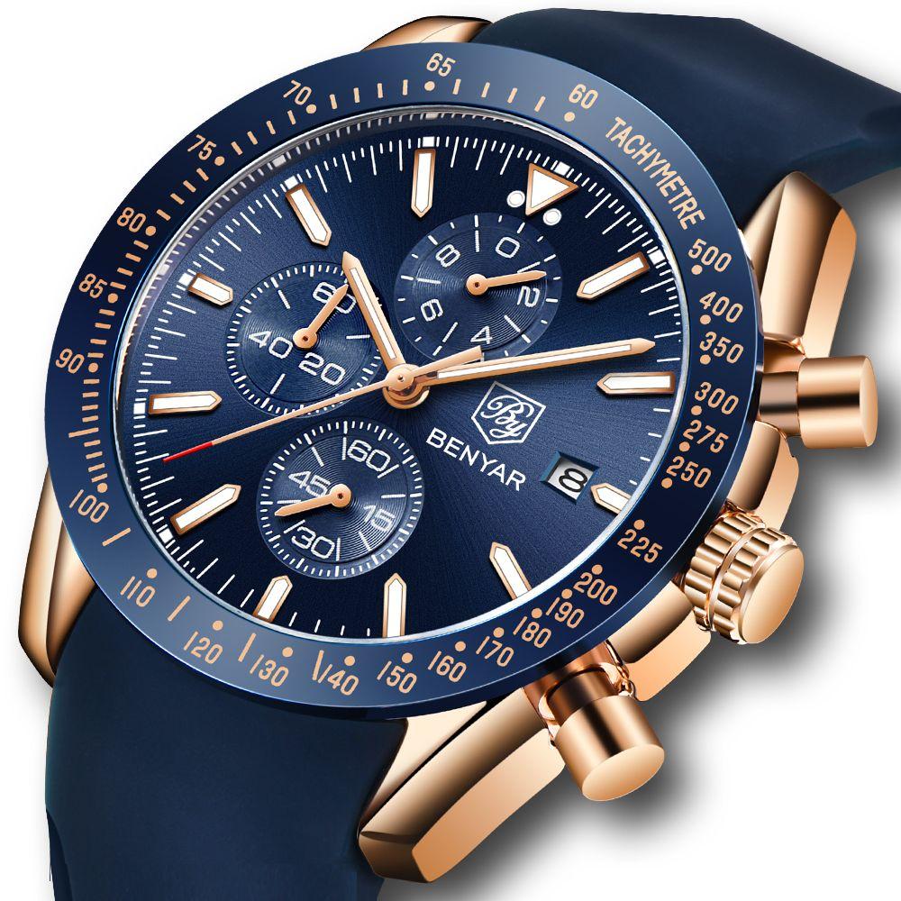 BENYAR Hommes Montres Marque De Luxe Bracelet En Silicone Étanche Sport Quartz Chronographe Militaire Montre Hommes Horloge Relogio Masculino
