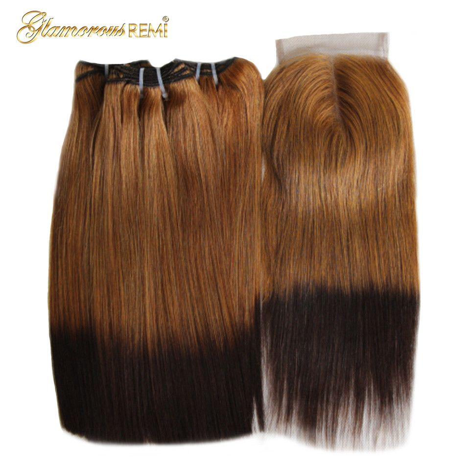 Ombre indien cheveux humains Double tiré Fumi cheveux paquets avec fermeture à lacet cheveux raides armure faisceaux avec fermeture 10-22 pouces
