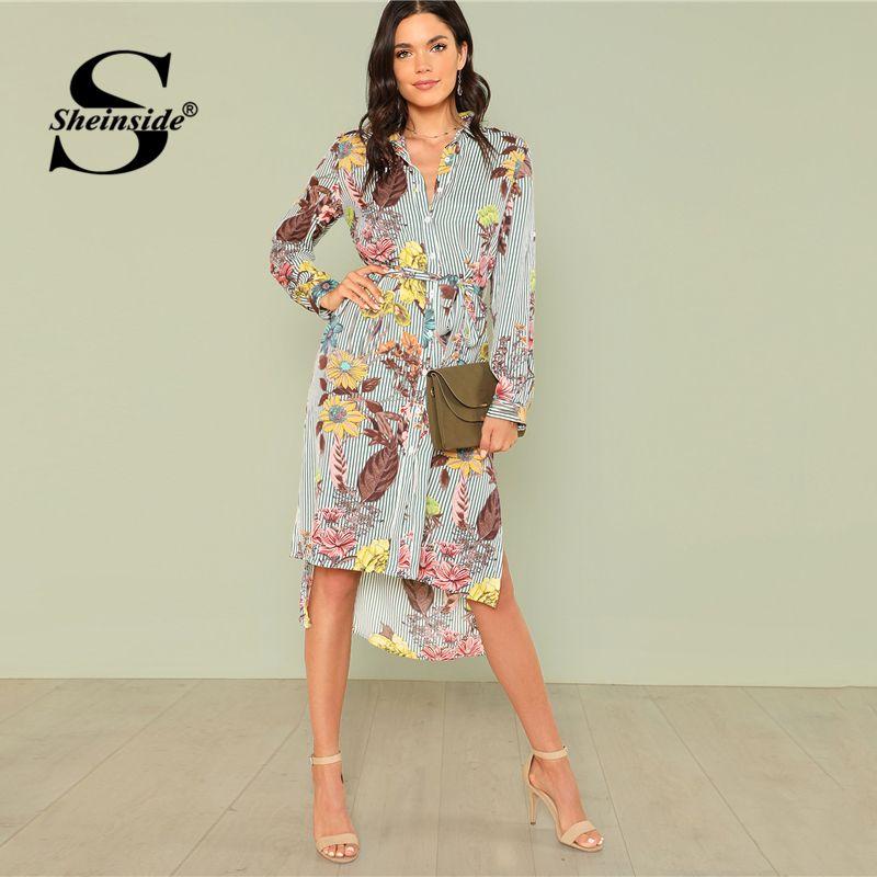 Sheinside Side Split Print Dip Hem Shirt Dress Women Floral Long Sleeve Striped Shift Dress High Low Ladies Workwear Dress