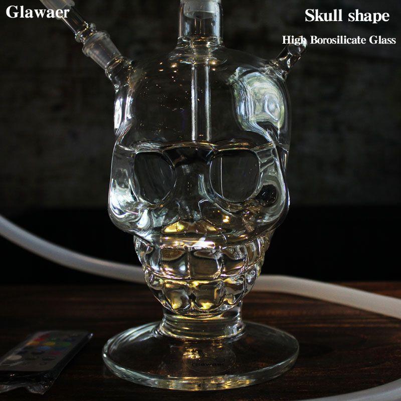 Glawaer Cool tête de crâne narguilé petit verre Shisha fumer sain pipe à eau meilleurs cadeaux avec lumière LED verre narguilé Chicha