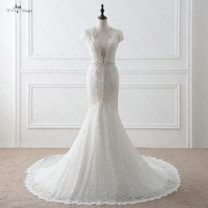 Rsw1049 Cap mangas sexy Trompetas vendimia Encaje-backless-Vestidos de novia sirena