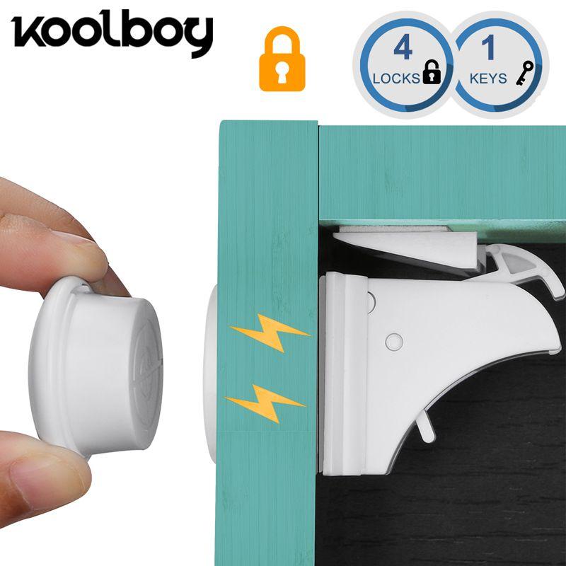 4 serrures 1 clés magnétique bébé serrure armoire de sécurité serrure enfants Protection enfants tiroir casier placard serrures à l'épreuve des enfants