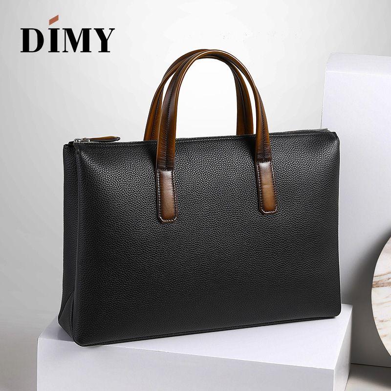 2019 neueste Trend männer Handtasche Business Aktentasche Togo Litschi Schicht Rindsleder 14 Zoll Laptop Tasche Dimy Mann Weihnachten geschenke