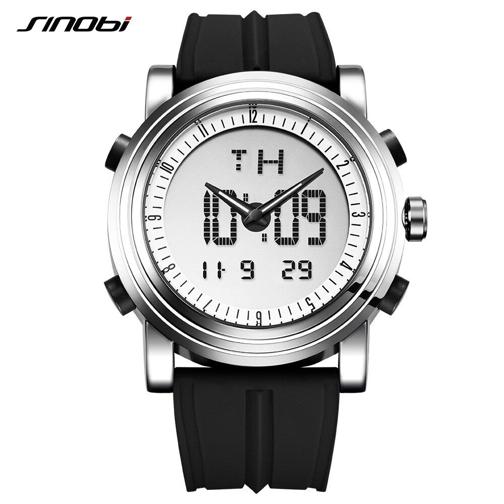 SINOBI Herren Uhren Top Brand Luxus Digital Analog Display Silikon Band Mode Hybird Uhr Mann Chronograph Relogio Masculino